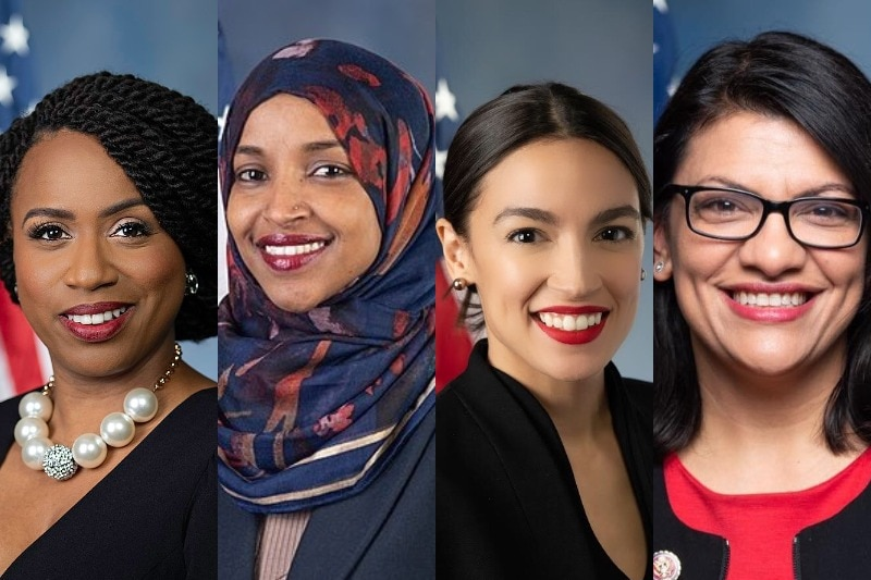 A composite image of Ayanna Pressley, Ilhan Omar, Alexandria Ocasio-Cortez, and Rashina Tlaib in front of US flags.