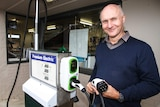Owner Mick Harris at the electric charging station in Newstead in central Victoria.