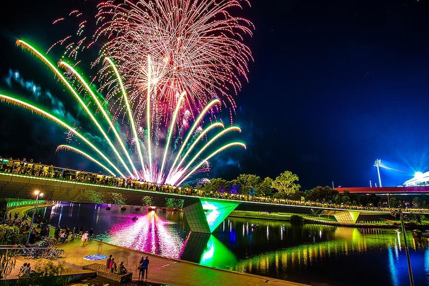 Fireworks over bridge