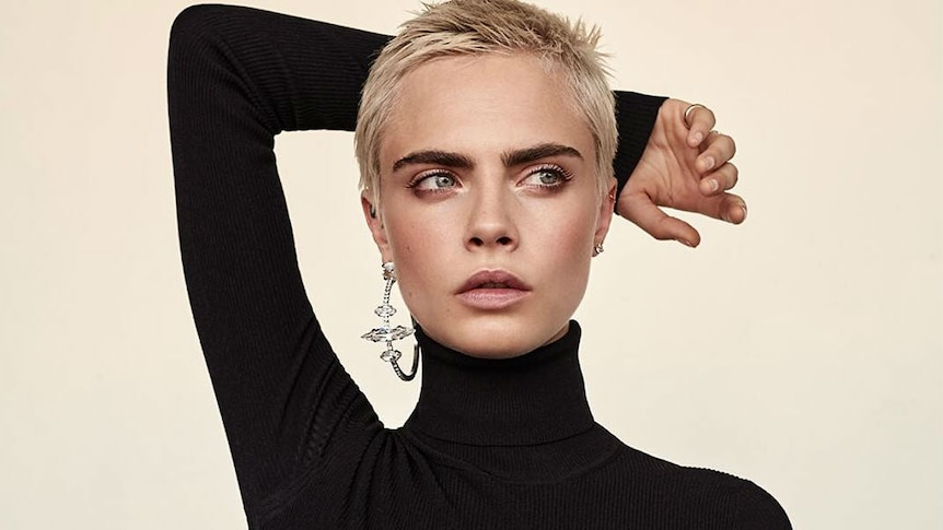 A modelling shot of Cara Delevingne for a story about what you need to know about eyebrow tattooing techniques like microblading