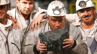 Miner kisses last piece of Bottrop coal