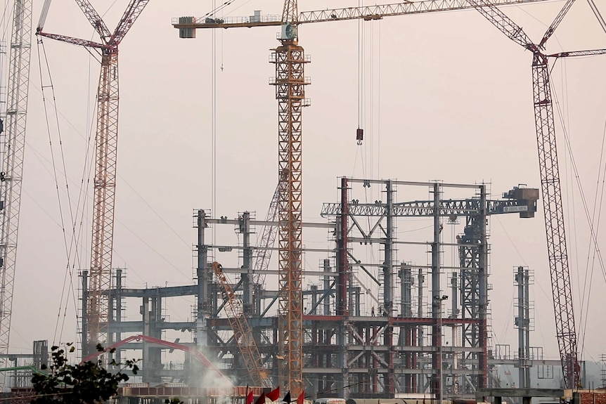 The huge construction site for Adani's Godda coal-fired power station in India.