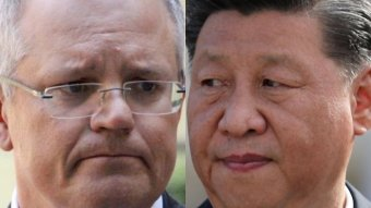 Close up image on faces of Scott Morrison and Xi Jinping.