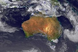 Satellite map of potential cyclone off coast of NT.