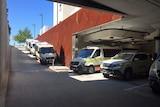 Ambulances line up at Royal Hobart Hospital