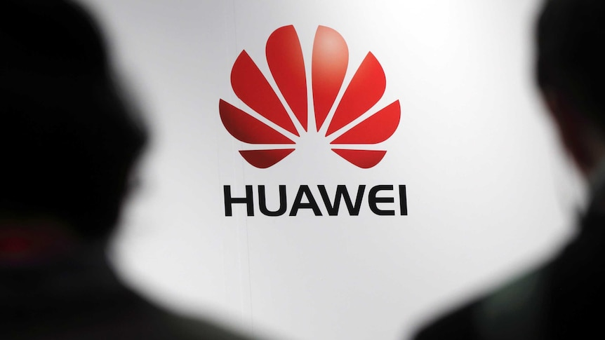 A generic of a Huawei's logo with the silhouettes of two people in the foreground.