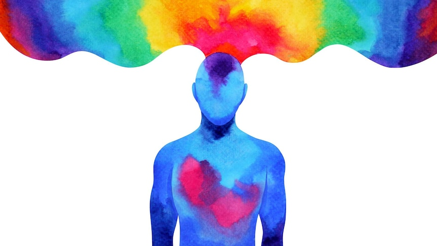 Play Audio. An illustration showing a kaleidoscope of rainbow colours emerging from the head of a human being