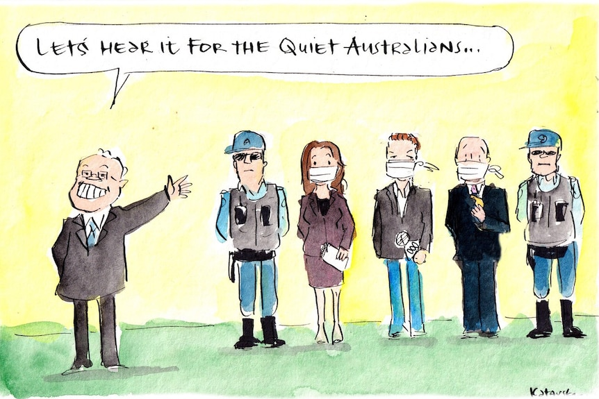 """Political cartoon depicting Prime Minister Scott Morrison showing people """"quiet Australians"""" who are flanked by police officers."""