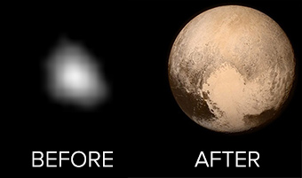 Pluto before and after