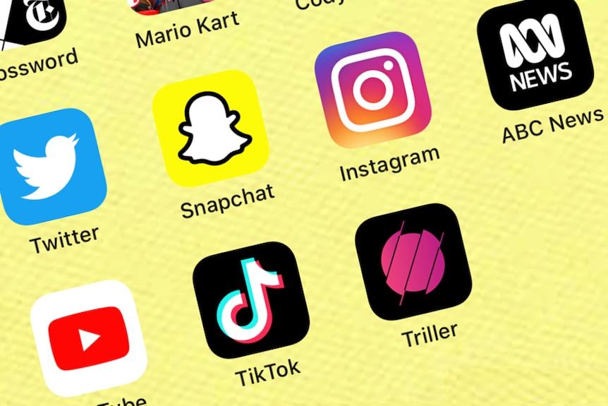 Apps Triller, TikTok, YouTube, ABC News, Instagram, Snapchat, Twitter, Facebook.
