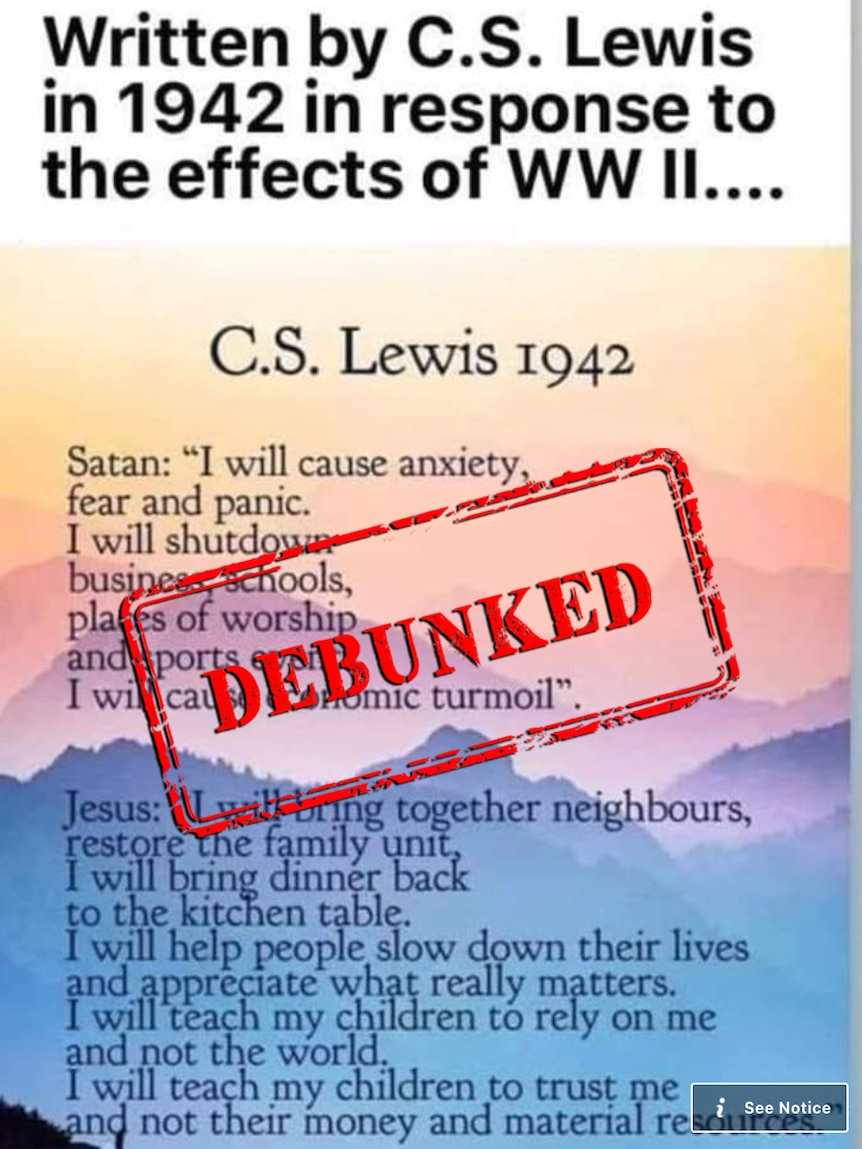 A screenshot of a passage of text attributed to C.S. Lewis with a debunked stamp overlayed