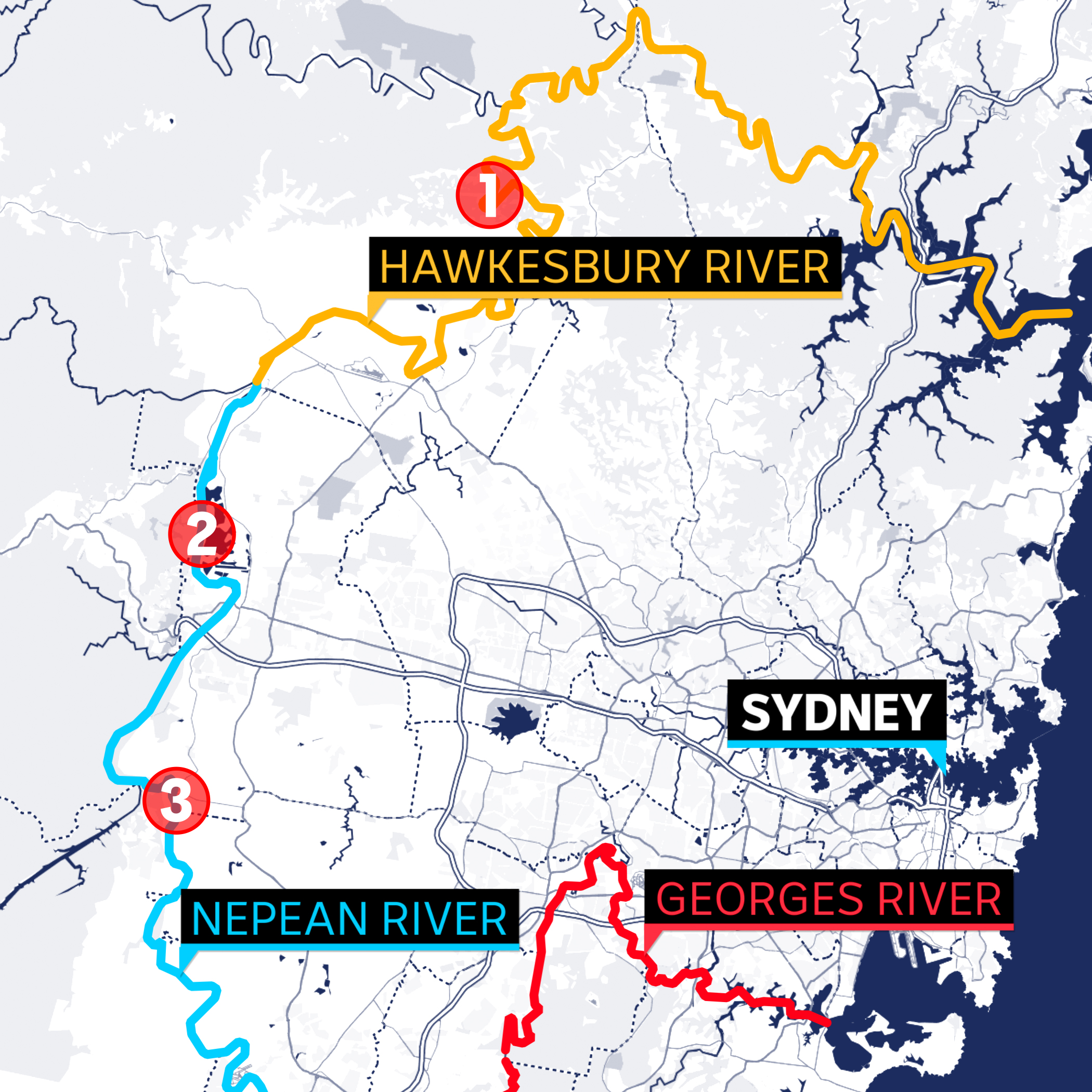 A map showing Sydney and its surrounding rivers, including where they are narrowest.
