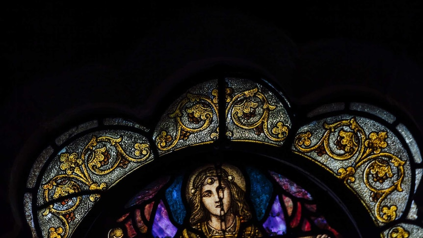 A leadlight window at a Uniting Church in Melbourne.
