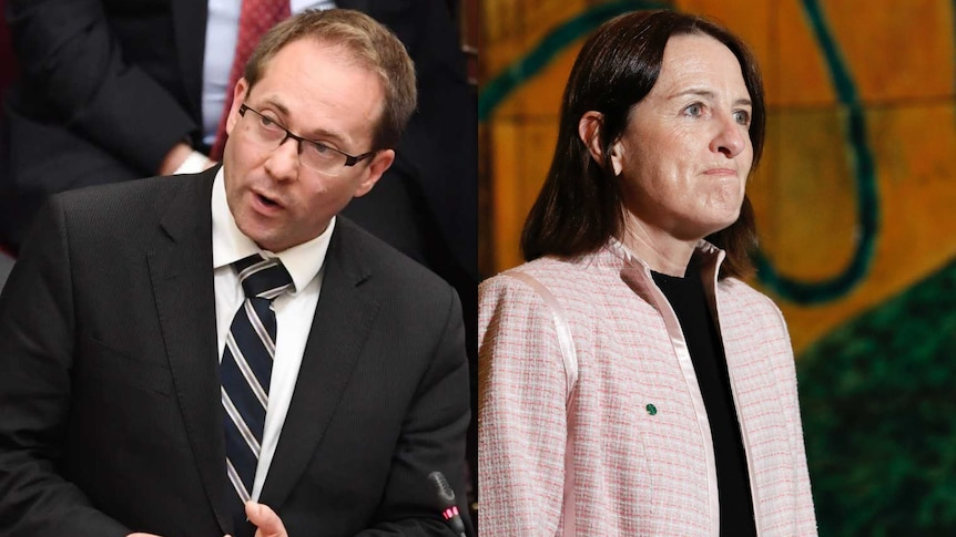 On the left, a man actively addresses parliament. On the right, a woman looks off camera with a neutral expression