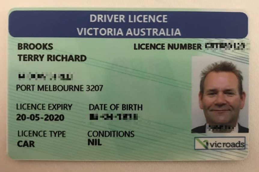 Photo of Victorian driver's licence for 'Terry Richard Brooks'