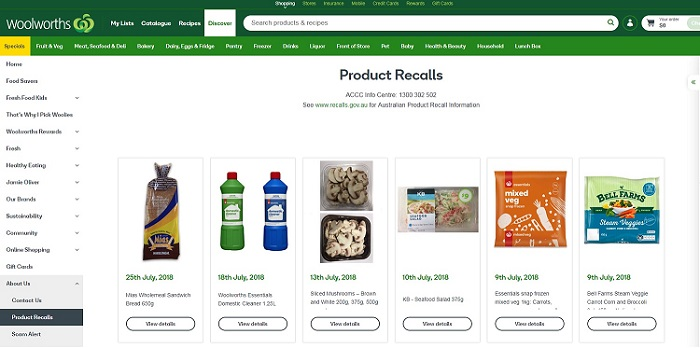 Woolworths product recalls page.