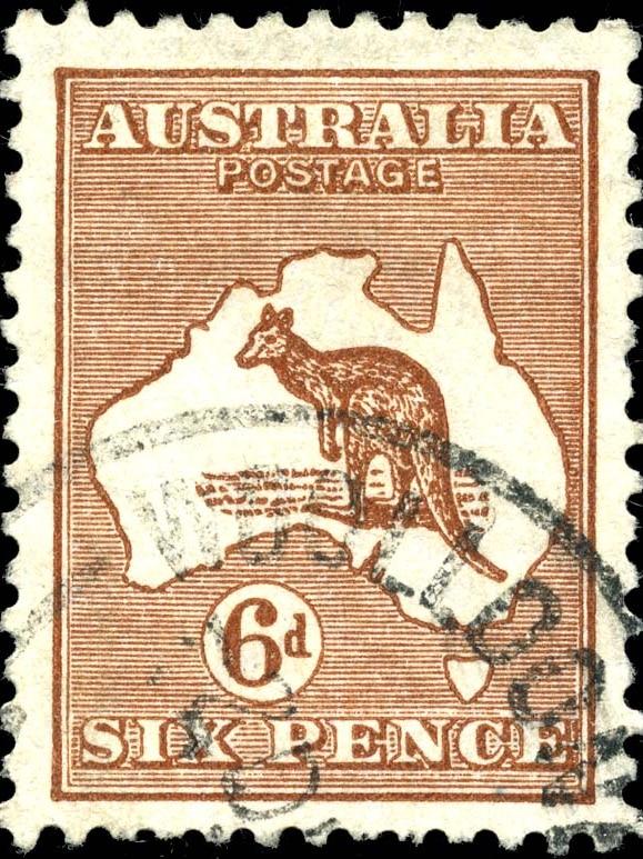 Australian sixpence kangaroo and map stamp, 1929.