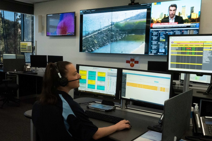 Danielle Edwards monitoring computers at the Surf Life Saving Operations Centre