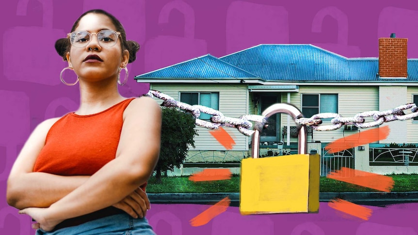 Collage of a house with lock and chains over it and a woman for a story about how to secure your home from thieves.
