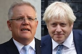 a headshot of scott morrison next to a headshot of boris johnson