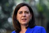Queensland Opposition Leader Deb Frecklington speaks during a press conference at Parliament House in Brisbane.