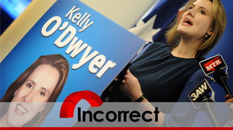 Kelly O'Dwyer angled incorrect verdict red wheel and bar