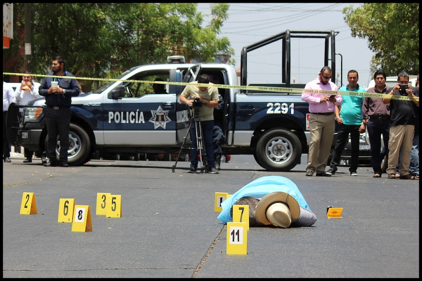 A body on the street.