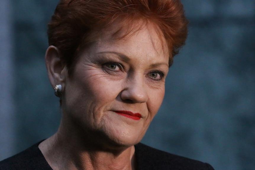 Close up of Pauline Hanson.
