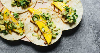 Image of three mango tacos