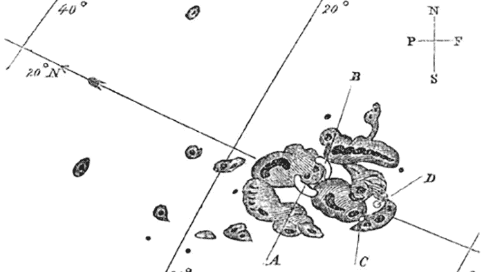 Drawing of sunspots by English astronomer Richard Carrington from 1859
