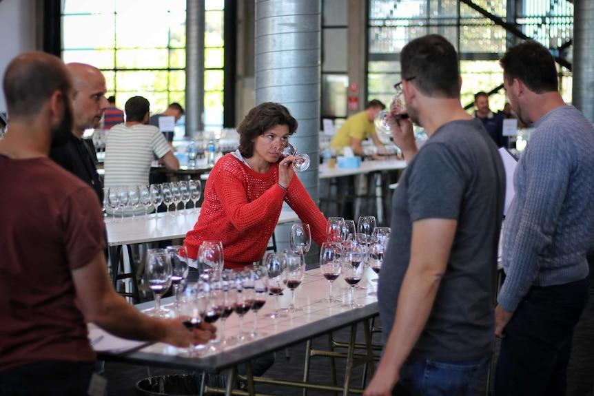 Judges sample wines at the Royal Melbourne Wine Awards.