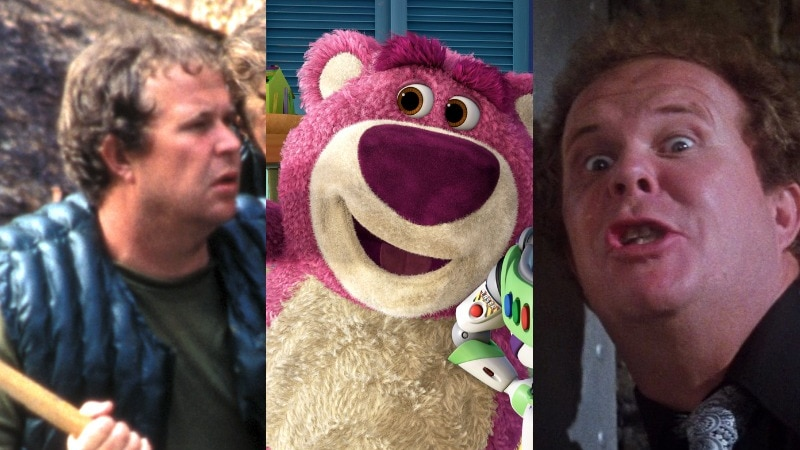 A composite image of a man with a paddle, a stuffed purple bear and a man in fear.