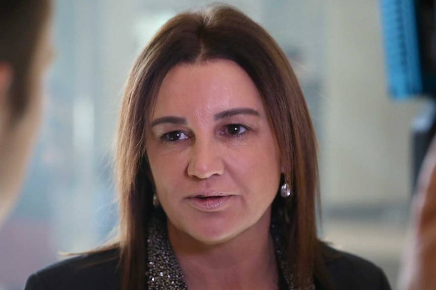 Jacqui Lambie looks to the left as she speaks into a microphone held by a reporter.