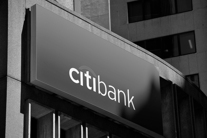 The Citibank logo in black and white