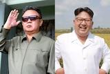 Composite image of former North Korean leader Kim Jong-il and current North Korean leader Kim Jong-un.