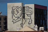 The University of Tasmania's lion logo on its city accommodation.