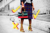 Woman holding handbag with illustrated ticks and crosses over her outfit, indicating ethical fashion and clothing choices.