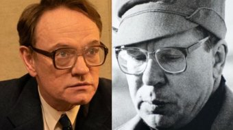 Actor Jared Harris alongside the real Valery Legasov.