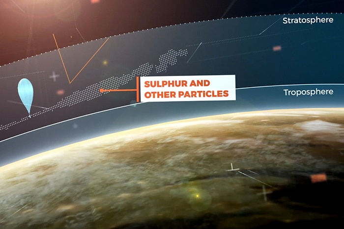 Diagram showing stratosphere