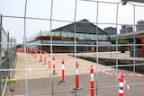 Fencing surrounding Central Pier in Docklands to keep people out.