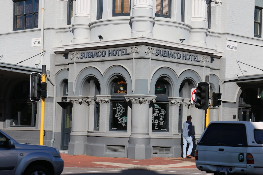 A close-up of the Subiaco hotel.