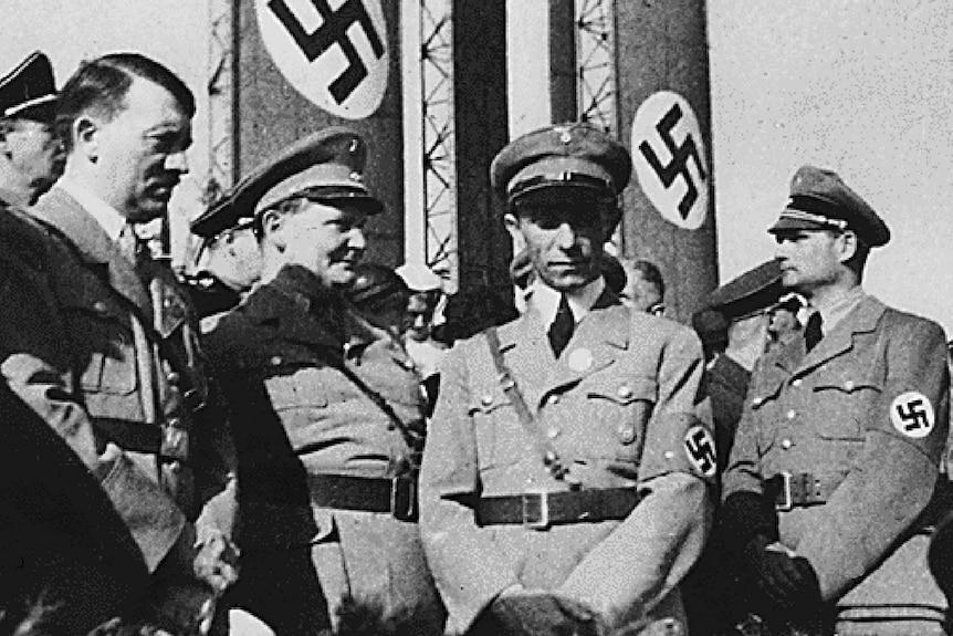 Adolf Hitler with Hermann Goring, Joseph Goebbels and Rudolf Hess.