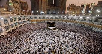 Muslims pray at the Grand Mosque in Mecca, Saudi Arabia.