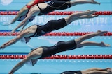Four swimmers diving into a pool during a race.