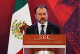 Mexico's Foreign Minister Luis Videgaray delivers a speech.