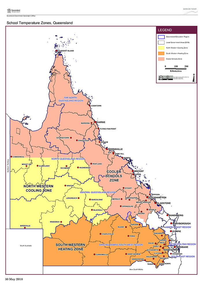 Map of Queensland showing locations warm and cool zones.