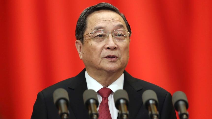 Yu Zhengsheng gives a speech.