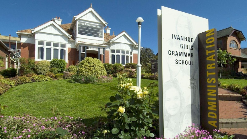 Ivanhoe Girls' Grammar School school administration buildings and entrance sign.