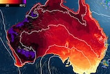 A heat map of Australia showing much of WA experiencing very high temperatures.