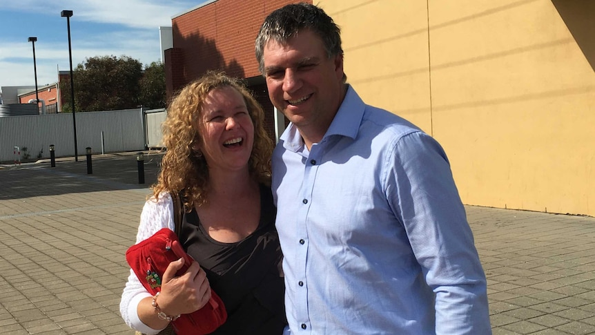 Dairy farmers Helen and Mark Tyler outside court